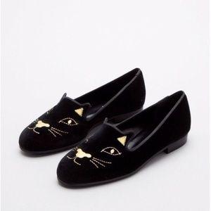 Jon Josef Cat Face Flats Loafers Black Velvet